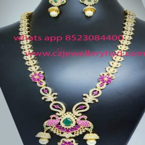CZ Long Necklace set with Jumkha as drops