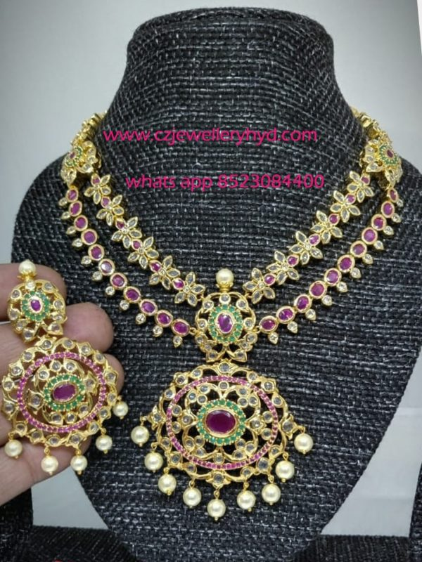 CZ Short Necklace Set with a Double lined