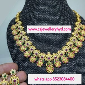 CZ Short Necklace Set Traditional DesignCZ Short Necklace Set Traditional Design