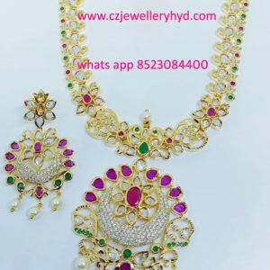 CZ White Long Necklace set code:-040938M