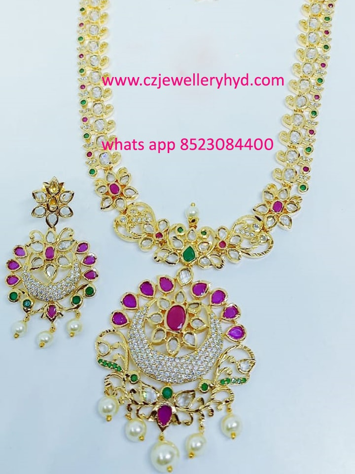 CZ White Long Necklace set