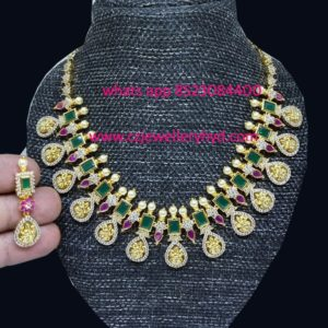 CZ Lakshmi Devi Beats Short NecklaceCZ Lakshmi Devi Beats Short Necklace