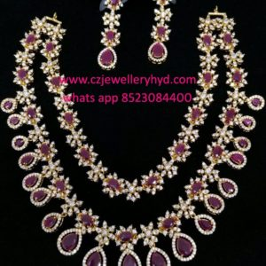 CZ Short Necklace Set Double lined design