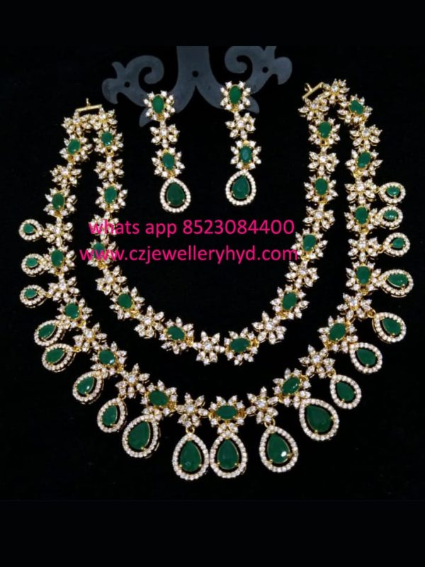 CZ Short Necklace Set Double lined design in green
