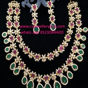 CZ Short Necklace Set Double lined design in multi color