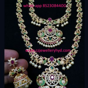 CZ Long Necklace with Short Necklace Combo Set code:-040937M