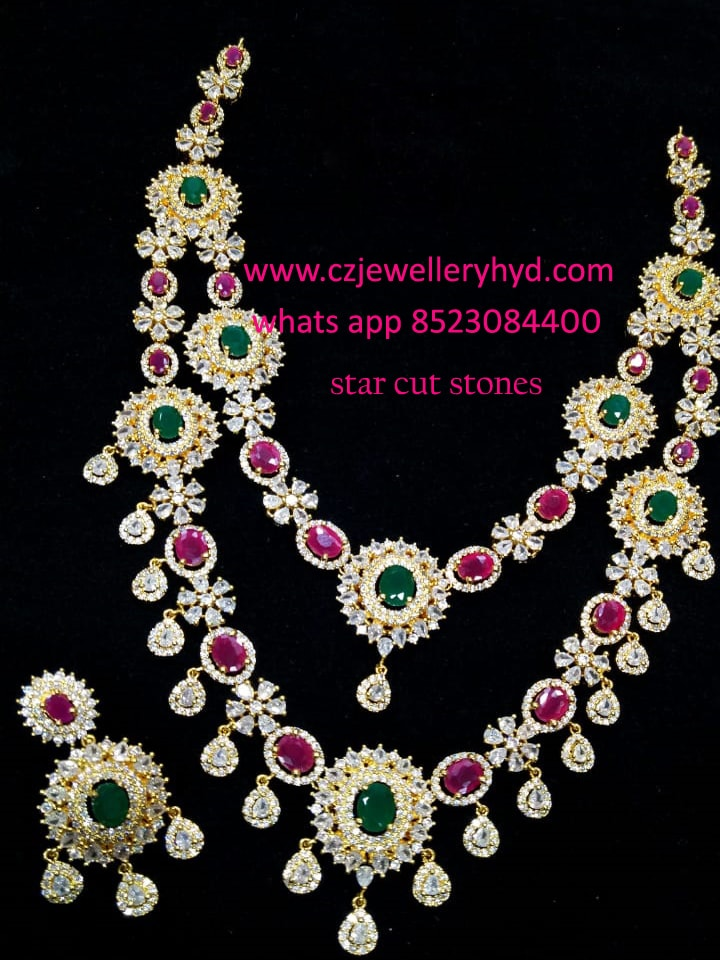 cz star cut stones short necklace: 041944M
