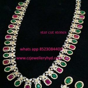 Multi color starcut stones long necklace set 041945M