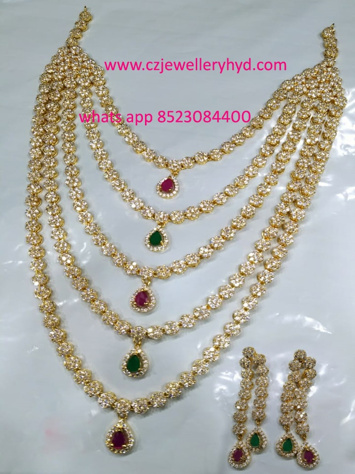 CZ White Stone Multi layer Necklace set