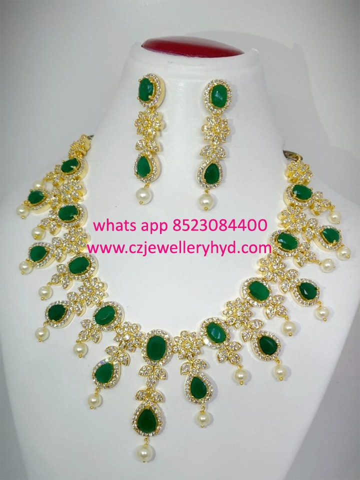 CZ Necklace set with white & green colored ruby