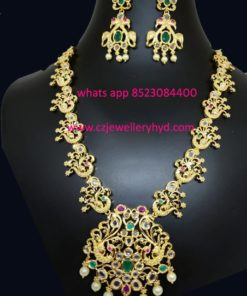 One gram gold beautifully peacock designed 3/4 necklace set:-041950M