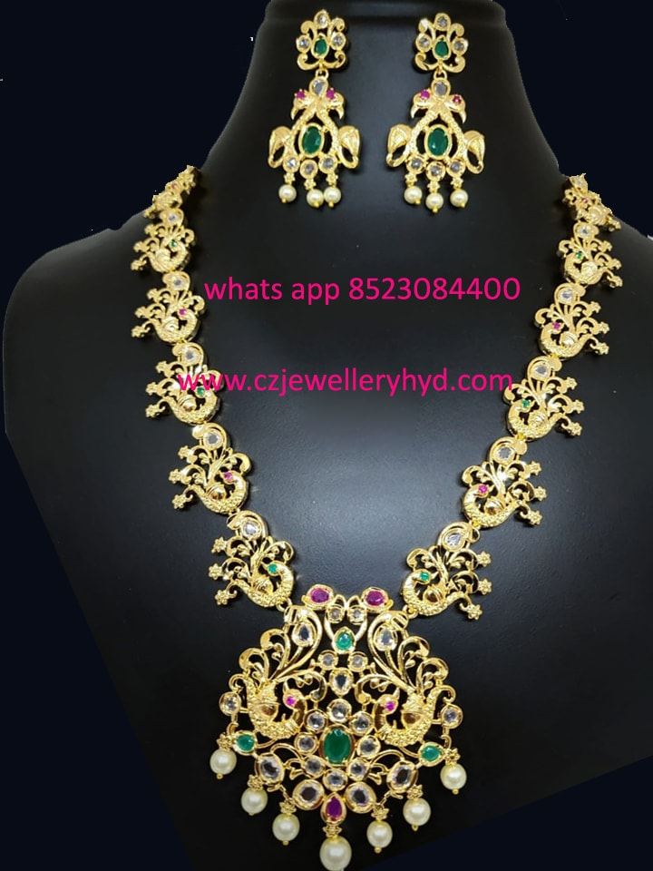 One gram gold beautifully peacock designed 3/4 necklace set