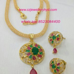 fancy short necklace multi colored set: 0619230N