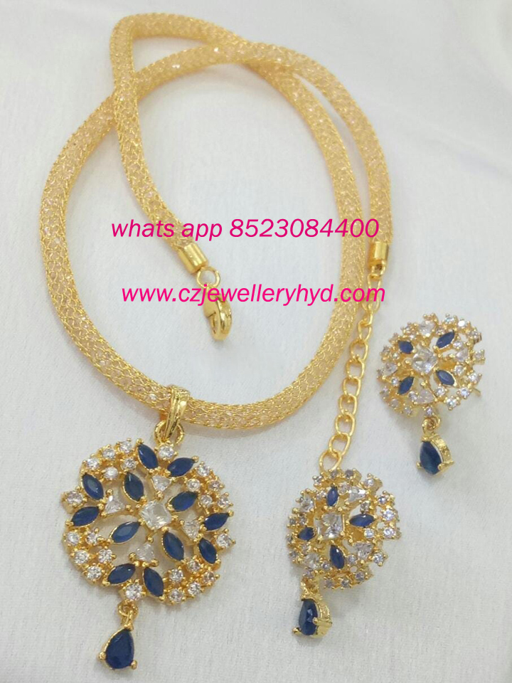 fancy short necklace blue colored set: 0619231N