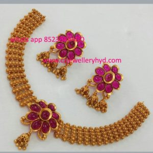Matic red kempu short necklace set 0619236N