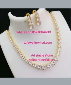 AD Single White Stoned Solitaire Necklace set code: 0619241N