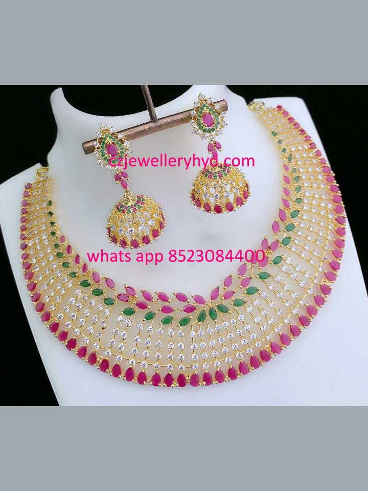 CZ Multi Colored Beautiful Short Necklace Set