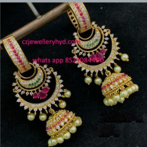 Traditional chandbali earrings with Jumkha  set code: 0619246N