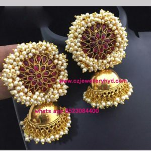 Antique guttapusal Jhumka set code: 0619250N