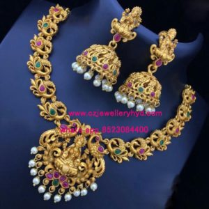 Matte short Necklace set with a Traditional design set code: 0419254N