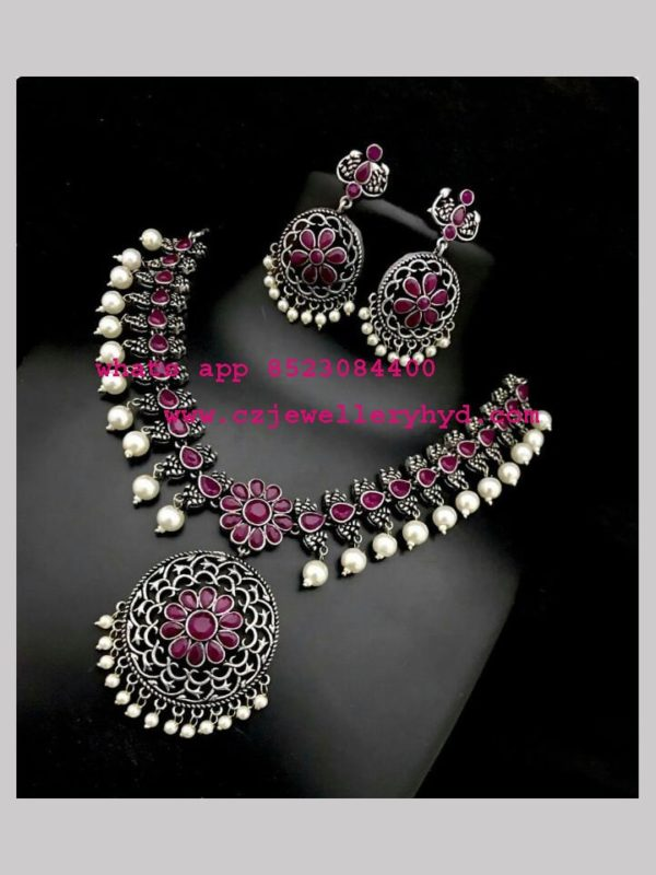 oxidised short necklace metal jewellery online set code: 0419255N