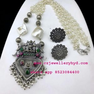 oxidised necklace metal jewellery online set code: 0419255N