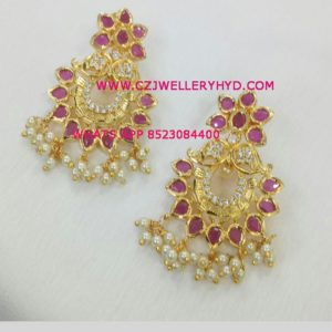 CZ Ruby Earrings party wear buy online set code: 0619264N