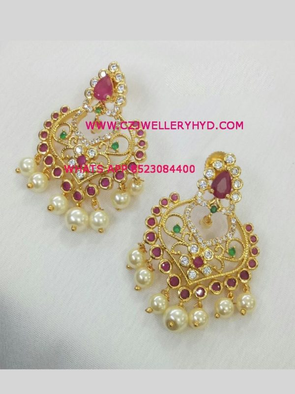one gram gold earrings ruby code: 0619268N