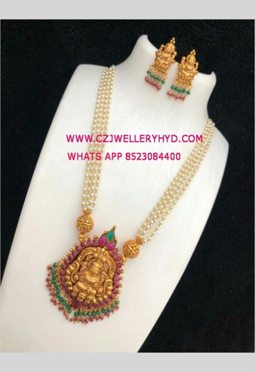 real kempu stone pearl necklace set with price set:-0619283N