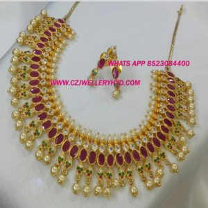 CZ Ruby Short Necklace