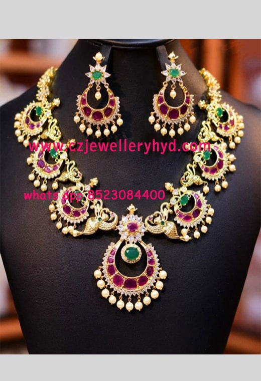 CZ jewellery Necklace set buy online-0619300N