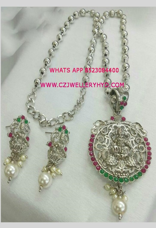 oxidised lakshmi design pendant set buy onlineoxidised lakshmi design pendant set buy online