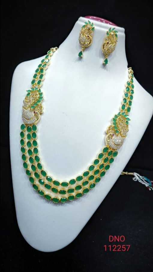 one gram gold necklace in green colored ruby