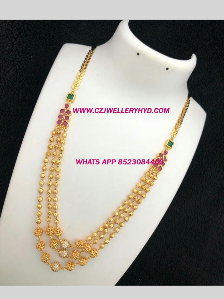 one gram gold long chain necklace set