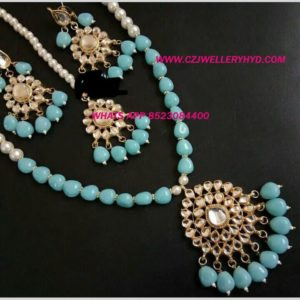 Real kempu Necklace set blue