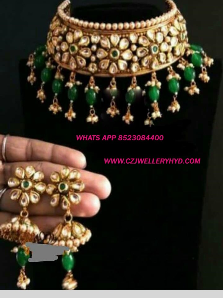Real kempu Necklace set green