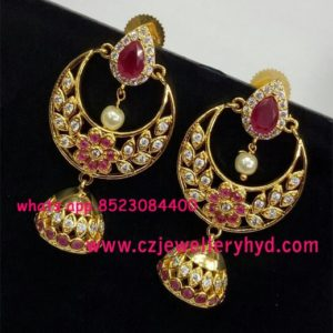 CZ Chandbali Earrings Buy Online Set 29N29