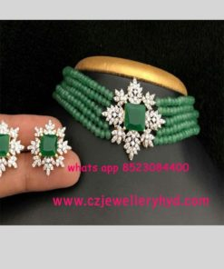 Green Beats Necklace Indian Designs set 16N250