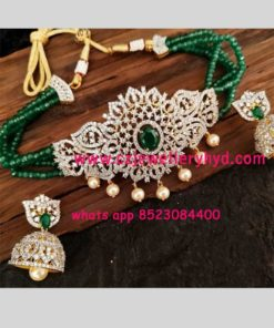 crystal beads chain with one gram CZ pendant Code 36N35
