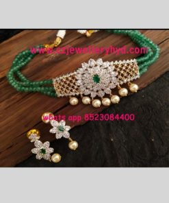 crystal beads chain with one gram CZ pendant Code 37N240