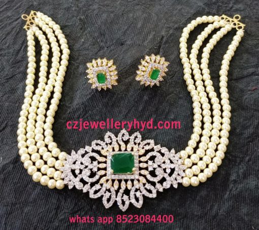 green pearl necklace choker N85270