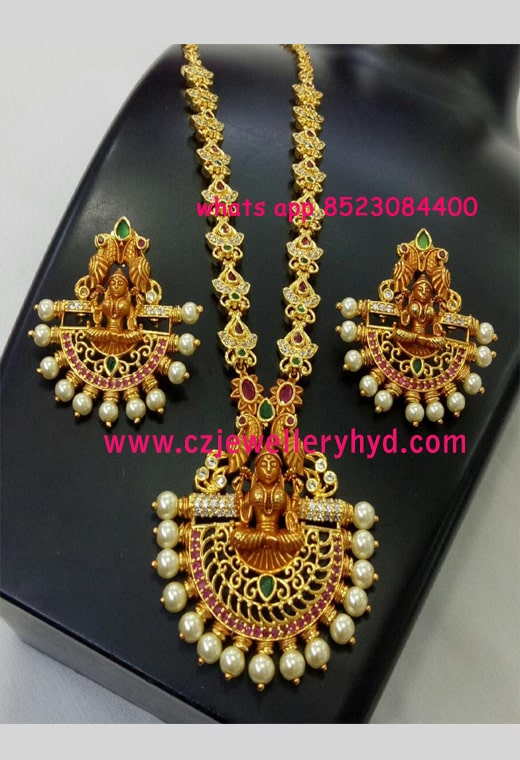 Matte Lakshmi Long Haram Set with Earrings N58225