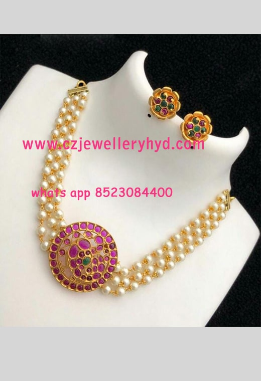 Real Kemp Stone with Pearls Set N20248