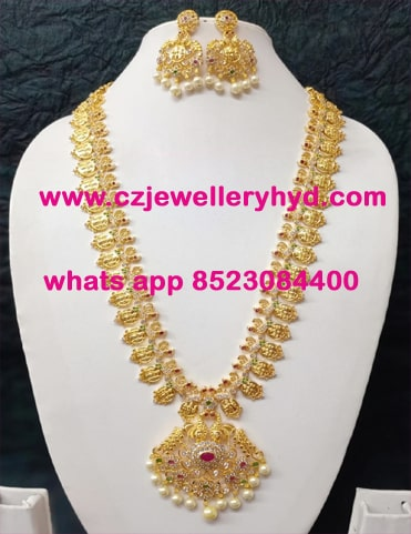25ND215 Premium Quality Ramparivaar Gold Long Necklace Set