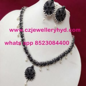 34ND50 Premium Quality Black Metal Short Necklace