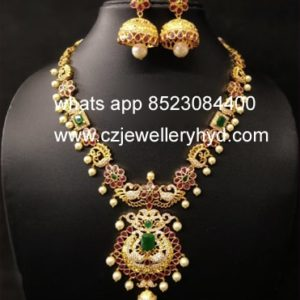 40NDV230 Premium Quality Peacock Design Necklace Set