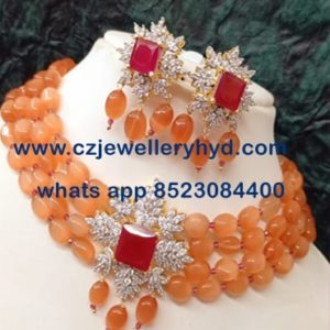 42NDV162 Premium Quality Orange Beats Trendy Necklace set