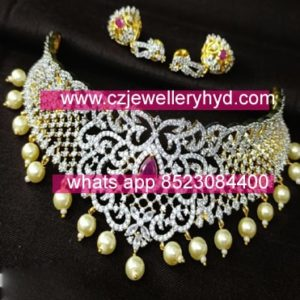 49DV156 Premium Quality GJ Finish CZ Chokers Set