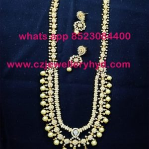 64NDV155 Premium Quality CZ White Pearl Necklace Set Buy online